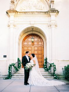 A wedding that floral dreams are made of at the Alfond Inn - Orlando Wedding Photographer Kristen Weaver Photography Garland Wedding, Wedding Decorations, White Roses, White Flowers, Greenery Garland, Garlands, Floral Wedding, Wedding Day, Stair Decor
