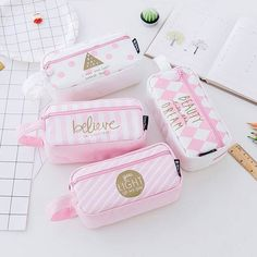 Grid Canvas Pink Pencil Case Kawaii Large Capacity Pencil Storage Bag School Supplies Stationery for Girls Students Gifts.