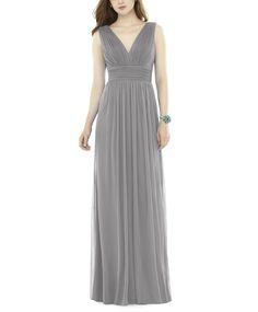 DescriptionAlfred Sung D719Floor length bridesmaid dressV-necklineGathered waistlineLow backShirredskirtChiffon