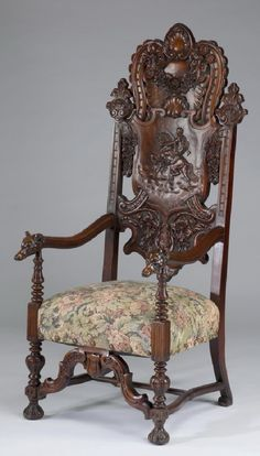 Jacobean Style Carved Hall Chair, 19th century