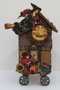This is such an amazing altered birdhouse using Happy Haunting! Made by @Pam Bray #graphic45