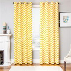 Zen Chevron Curtains available in 3 color choices -Yellow, Tangerine Orange and Turquoise