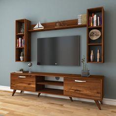 75 veces he visto estas grandes muebles minimalistas. Tv Unit Decor, Tv Wall Decor, Wall Tv, Modern Tv Wall Units, Wooden Tv Stands, Living Room Tv Unit Designs, Tv Wall Design, Home Room Design, Living Room Decor