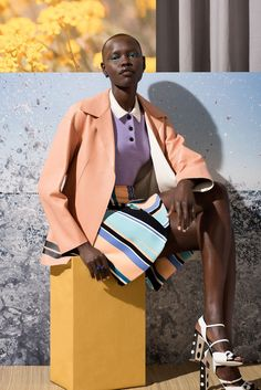 Grace Bol, photographed by Marko MacPherson, is a beauty in the editorial for W Magazine February 2015 #blackbeauty #pastels #colorcombo #colorblocking #styling