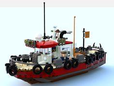 Dom Takes Captain Daniel Fishing With His Old Tugboat Fallout Power Armor, Lego Village, Lego Boat, Lego Kits, Lego Ship, Lego Builder, Cool Lego Creations, Lego Design, Tug Boats