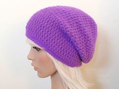 This super simple slouch hat is perfect for beginners looking to play with  some basic shaping and textures, but it's also fun for the intermediate  crocheter who wants to whip up something quick and cute.  Supplies:     * Medium/Worsted Weight yarn     * US H8/5.00mm     * US G6/4.00mm     * Tapestry needle (for weaving in ends) Gauge:  The gauge for the Red Heart Shimmer (shown in the purple hat photo above)  is 14dc x 9r = 4in/10cm using an H8/5.00mm crochet hook.  Notes:     * If you choose to use yarn like Red Heart Super Saver, please note       that it is thicker than the medium/worsted yarn used in my prototypes       and could possibly make your hat much larger than gauge. You can       adjust the hat's size accordingly by eliminating increase rounds and       removing some of the straight rounds toward the bottom of the hat       according to preference.     * Make sure you are joining directly into the top of the ch-2 at the       end of each round, not into the gap between the ch-2 and the next DC.       Joining into the gap will create a hole.  Instructions  (Read the pattern below or click here to download the PDF from Craftsy!):  Begin with magic loop (click here to watch a how-to video).      * Row 1: Ch 2 (counts as first DC), 11 DCs in ring; join to top of ch 2       and pull loop tight (12 sts)     * Row 2: Ch 2 (counts as first DC), DC in same st, *2 DCs in next st*       around; join (24 sts)     * Row 3: Ch 2 (counts as first DC), DC in next st, 2 DCs in next st,       *DC in next 2 sts, 2 DCs in next st* around; join (32 sts)     * Row 4: Ch 2 (counts as first DC), 2 DCs in next st, *DC in next 3       sts, 2 DCs in next st* around; join (40 sts)     * Row 5: Ch 2 (counts as first DC), 2 DCs in next st, *DC in next 4       sts, 2 DCs in next st* around; join (48 sts)     * Row 6: Ch 2 (counts as first DC), 2 DCs in next st, *DC in next 5       sts, 2 DCs in next st* around; join (56 sts)     * Row 7: Ch 2 (counts as first DC), 2 DCs in next st, *DC in next 6       sts, 2 DCs in next st* around; join (64 sts)     * Row 8: Ch 2 (counts as first DC), 2 DCs in next st, *DC in next 7       sts, 2 DCs in next st* around; join (72 sts)     * Row 9: Ch 2, *DCin each st aroud*, join;     * Rows 10-28: Repeat Row 9 for 19 rows; join           o Note: This is where you can remove rows, if needed, to lessen             the amount of slouch dependent on gauge. Basically, work these             rows until you reach your preferred length.     * Row 29: Switch to smaller hook, ch 1, *in back loop only, sc in each       st around*; join     * Rows 30-34: Repeat Row 29  Fasten off.    I hope you all enjoy this pattern!  If you have any photos, definitely  post them on Ravelry because I'd love to see everything you make :)  Thanks  for taking the time to drop by and check it out!  For more knit and crochet patterns, make sure to visit my Patterns page!