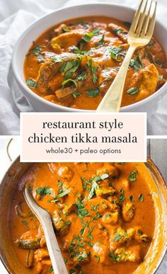 Best Chicken Tikka Masala (Restaurant Style, Paleo, Dairy-Free) This restaurant style chicken tikka masala recipe will fool even the most hardcore of takeout enthusiasts. This paleo chicken tikka masala recipe is rich and creamy with tender bites Paleo Whole 30, Whole 30 Recipes, Best Chicken Tikka Masala Recipe, Chicken Masala, Pollo Tikka Masala, Slow Cooker Tikka Masala, Tikka Masala Sauce, Recetas Whole30, Cena Paleo