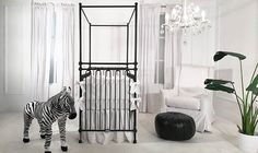 This sparse contemporary nursery is everything. the bold black four poster crib adds majesty to Baby Boy Nursery Decor, Baby Boy Bedding, Baby Boy Rooms, Nursery Room, Nursery Ideas, Grey Nursery Boy, Baby Nursery Neutral, Neutral Nurseries, Girls Furniture