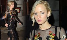 Jennifer Lawrence flashes her black bralet and toned middle in a sheer dress as she steps out with Hunger Games co-stars in London | Daily Mail Online