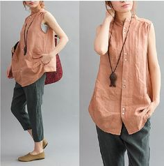 Loose Fitting Linen flaxramie Shirt Blouse for Women - Sleeveless - Women Clothing (R)