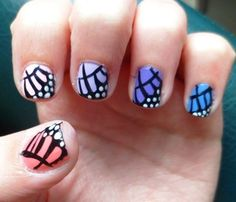 pastel monarch butterfly wing nails