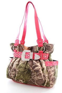 Western Cowgirl Mossy Oak Camo Rhinestone Bling Belt Buckle Satchel-HOT PINK