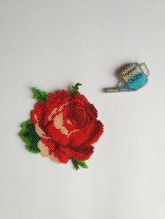 Red Rose Brooch.Beadwork rose.Flower brooch.Rose