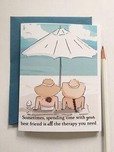 Miss You Card  beste vrienden kaart strand therapie  Miss