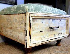 Recycle an old dresser drawer and old wooden legs and build a luxury pouf. . Translate from Swedish. /// Släng aldrig en låda och spar på alla gamla träben. Tillsammans blir de en lyxig sittpuff.