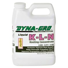 Dyna-Gro K-L-N Rooting Concentrate Quart - Promotes vigorous root growth in trees, foliage and flowering plants. Use for propagating cuttings, air layering, and as a transplanting drench for newly-potted plants. Drench, dip or mist plants with K-L-N to stimulate new root growth. Highly recommended to increase production of cuttings.