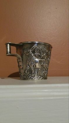 Antique sterling silver cup with a handle decorated in repousse with Greek style bulls. The cup is double walled and marked MADE IN GREECE 925 under handle and 925 inside bottom of cup. Christening, 1920s, My Etsy Shop, Greek, Magic, Sterling Silver, Antiques, Unique Jewelry, Tableware