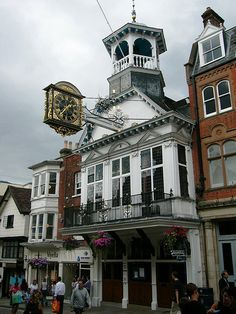 the guildhall and 17th century clock, guildford, surrey