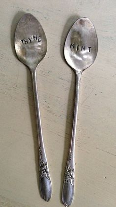 Two Vintage Ice Tea Spoon Plant Markers