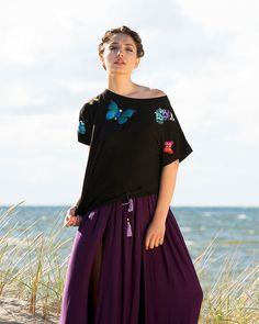 Unique black t-shirt with embroidered butterflies, each piece is different, gems, beads and zircons, micro modal fabric, bateau neckline
