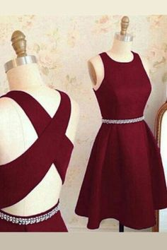 Simple Burgundy Red Stain Short Homecoming Dresses, Beaded Knee Length Prom Gowns Cheap HCD48