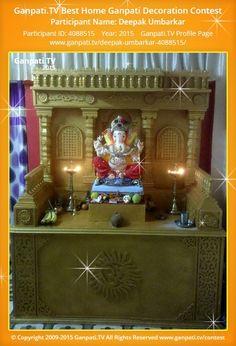 Deepak Umbarkar Page on Ganpati.TV where all Ganpati festival decoration pictures and videos are shared. Ganesha Art, Lord Ganesha, Stage Decorations, Festival Decorations, Decorating With Pictures, Decoration Pictures, Ganpati Picture, Ganpati Decoration Design, Ganpati Festival