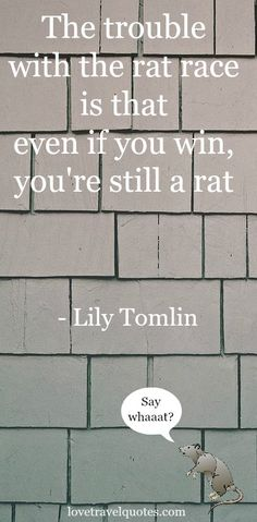 The Trouble with the Rat Race is that even if you win, you're still a rat. - #LilyTomlin