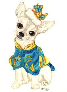 Chihuahua Art Print of Original Watercolor Painting in Greeting Cards or Prints, Prince the Charming Chihuahua