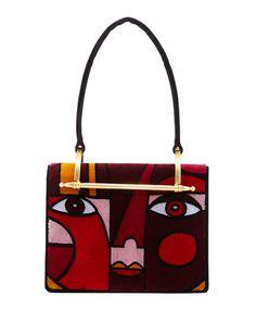 PRADA Pionerre Cubist Velvet Shoulder Bag, Medium Red. #prada #bags #shoulder bags #leather #velvet #lining #