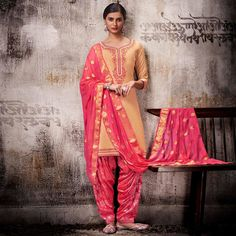 7b268c8216 Delightful Beige Colored Embroidered Work Party Wear Silk Cotton Patiala  Suit