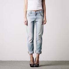 Womens Mid Rise Boyfriend Jeans In Stone Vintage | DSTLD Luxury Jeans & Essentials | No Retail Markup