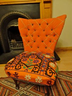 Vintage Chair upholstered in Vintage Suzani by KocoBoutique, £450.00