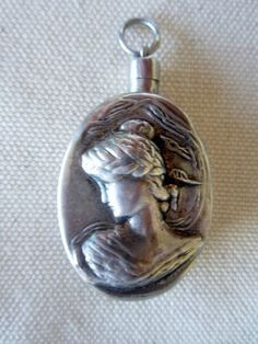 Vintage Sterling Silver Perfume Pendant HIgh Relief by candly, $95.00