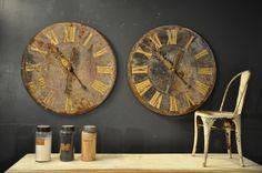 pair of 19th metal clockfaces