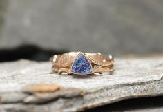 Tanzanite & 14k Rose gold Twig Ring Stacking Set