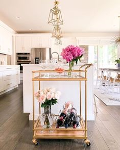 30+ Bar Cart Styling Ideas For Your Home - The Wonder Cottage Bar Cart Styling, Bar Cart Decor, Hobby Lobby, Home Bar Essentials, Mason Jars, Gold Bar Cart, Small Condo, Condo Remodel, Bar Furniture
