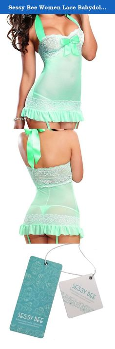 Sessy Bee Women Lace Babydoll Strappy Garter Lingerie Babydoll Sleepwear Sexy Dress. Features: 100% brand new in good condition Color:Mint Blue,just as pictures show. Material:Lace, Gauze Made of high quality material. Very comfortable to wear.low cut halter neck,hot and sexy. Perfect gift for ladies ,wife and girlfriendIt is suitable for nightwear, sleepwear. You will be the most sexy beauty wearing this lingerie The package include : 1pcs sexy Dress+G-string (Thigh high stockings not...