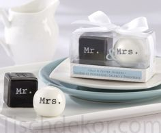 and Mrs. Wedding Salt and Pepper Shakers Mr. and Mrs. Salt and Pepper Shakers imageMr. and Mrs. Salt and Pepper Shakers image Wedding Favors And Gifts, Gift Wedding, Party Favours, Party Wedding, Wedding Table, Salt Pepper Shakers, Salt And Pepper, Mr Mrs, Table Cadeau
