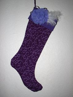 Purple Swirl Print Christmas Holiday Stocking by ThisandThatPark, $25.00