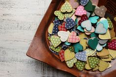 READY TO SHIP set of 200 wooden hearts polka dot foral wedding favors wooden heart magnets guest favors bridal shower baby shower