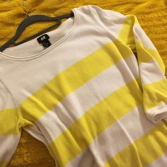 Striped sweater dress Yellow is the happiest color!  Three-quarter length sleeve knit dress that hits mid thigh. H&M Dresses