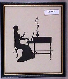 Wallace Nutting Silhouette - Girl Plays Piano