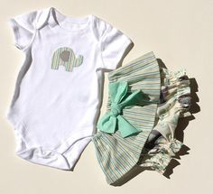 BABY GIRL CLOTHES mint with grey elephants by TwoBlackRabbits