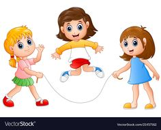 Three girls playing jump rope vector image on VectorStock Rope Drawing, Human Drawing, Drawing For Kids, Art For Kids, Teacher Cartoon, Traditional Games, School Posters, Cute Clipart, Kids Poster