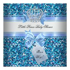 Glitter Baby Shower Boy Blue Little Prince Crown Invitations