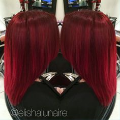 "Elisha Lunaire on Instagram: ""I love using Goldwell Elumen to create vibrant red…"