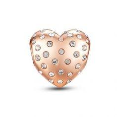 Crystal Rose Gold Heart Charm black Friday sale