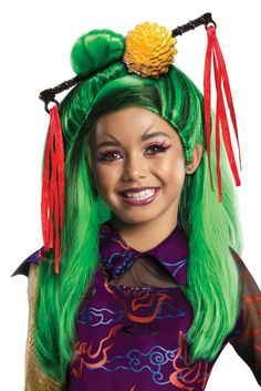 From the official Monster High collection, our Kids Jinafire Long Wig features bright green synthetic hair with black streaks in a long, straight style that falls mid-back with the top portion pulled up into bun and long, side-combed bangs. A plastic hair accessory consisting of a golden floral ornament and hair stick with red ribbons is attached at the top. Inner mesh netting with elastic lining provides a comfortable fit. It replicates the hairstyle worn by the 15-yr daughter of the ...