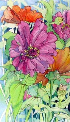 Buchanan's Zinnias from Marni Maree Paintings
