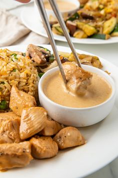 This recipe is a full hibachi chicken dinner at home! With restaurant-style sautéed veggies, fried rice, and super tender chicken, this hibachi recipe is served with a spicy mustard dipping sauce that really transports you to the Japanese steakhouse! Hibachi Fried Rice, Hibachi Chicken, Best Chicken Recipes, Asian Recipes, Healthy Recipes, Ethnic Recipes, Sauteed Chicken Recipes, Garlic Chicken, Healthy Chicken